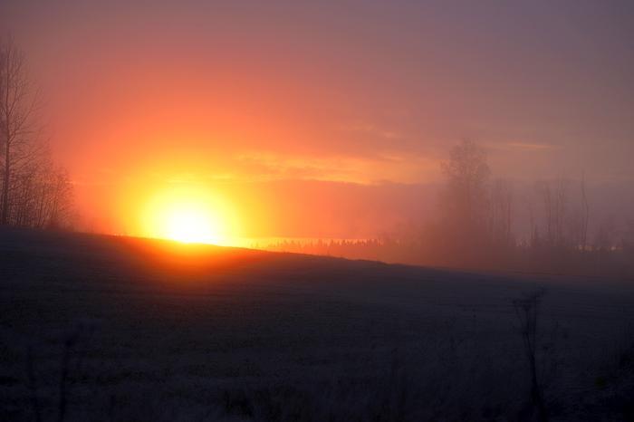Kuurainen maisema auringonnousussa.