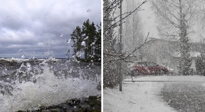 Tuulta ja lumisateita.