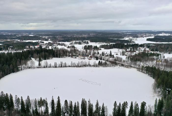 Foreca-teksti Viisajärven jäällä Ylöjärvellä maaliskuussa 2021.