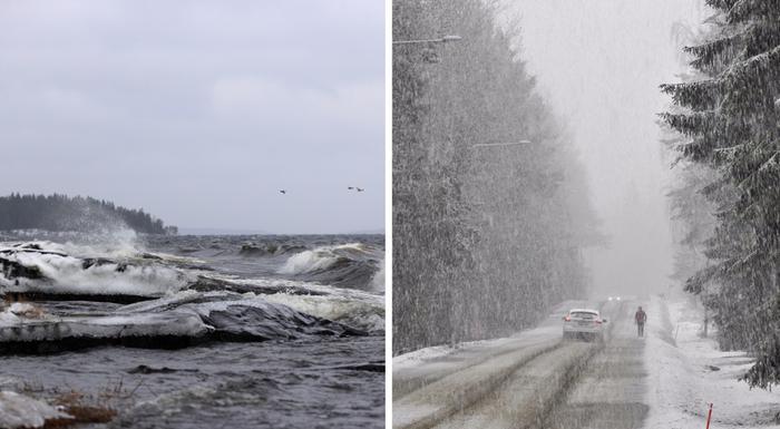 Myrskyä ja lumipyryä.