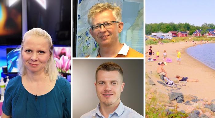 Meteorologi Miina Manninen nauttii ulkona liikkumisesta ja lomasta säällä kuin säällä. Pekka Pouta (ylhäällä) ja Markus Mäntykannas jakavat kesälomansa useampaan osaan.