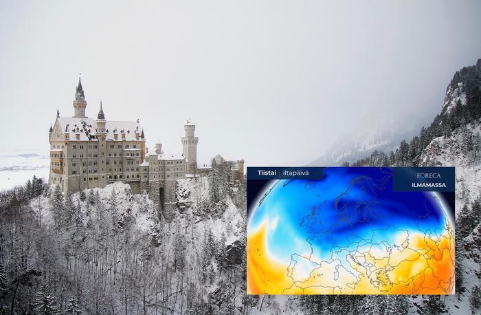 Euroopassa nähdään tälläkin viikolla lumisateita ja pakkasia.