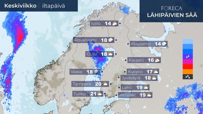 Keskiviikon 12.8.2020 sääennuste.