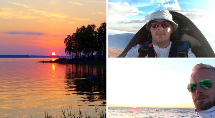 Kristian Roineen (ylhäällä) ja Aleksi Jokelan harrastuksissa säällä ja sääennusteilla on merkitystä ja meteorologin tiedoista on hyötyä. Roine harrastaa purjelentämistä, Jokela purjehtii.
