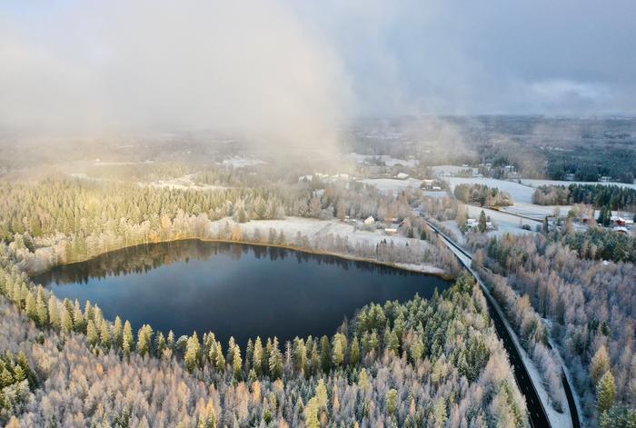 Luminen maisema Ylöjärvellä Pirkanmaalla.