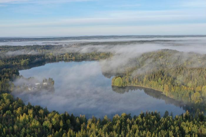 Järven ylle siirtynyneen viileän ilman kosteus tiivistyi sumuksi ja kulkeutui tuulen mukana järveltä aina metsien ylle.
