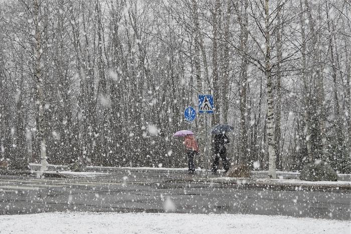 Jyväskylässä pyrytti lunta 14. huhtikuuta 2020.