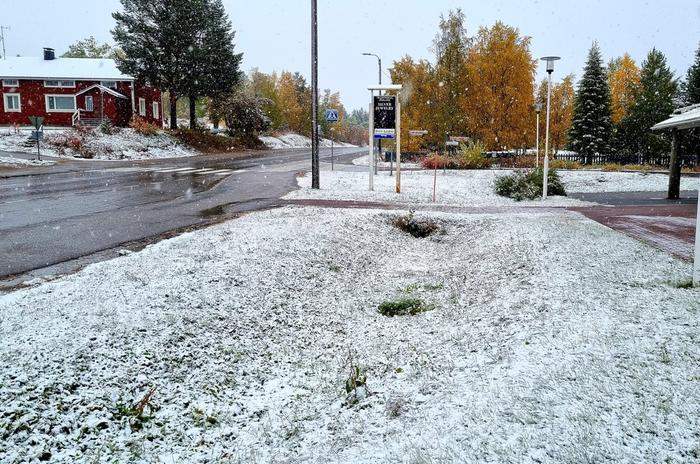 Enontekiöllä satoi lunta syyskuussa 2021.