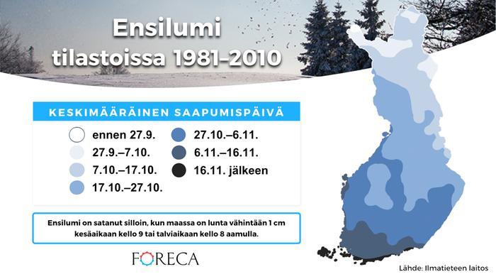 Ensilumi sataa silloin, kun maassa on ensimmäisen kerran kesän jälkeen 1 cm lunta aamulla päähavaintoaikaan.