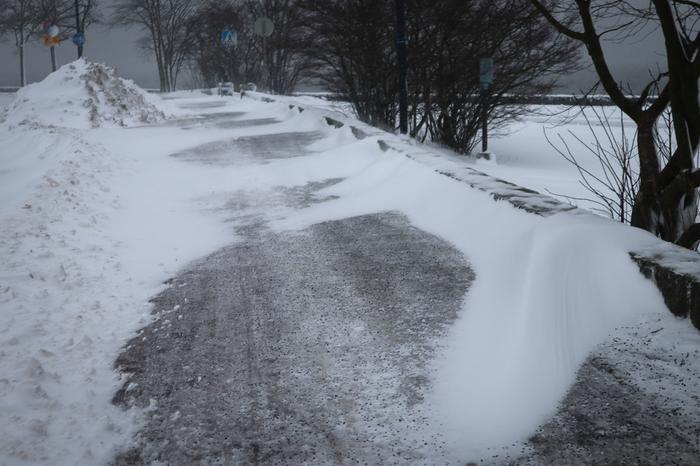 Lumikinoksia lumimyrskyssä Eiranrannassa