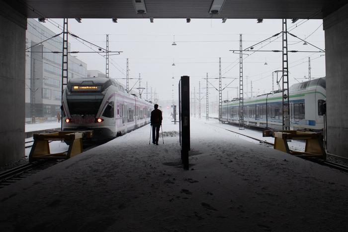 Jalankulkija lumipyryssä