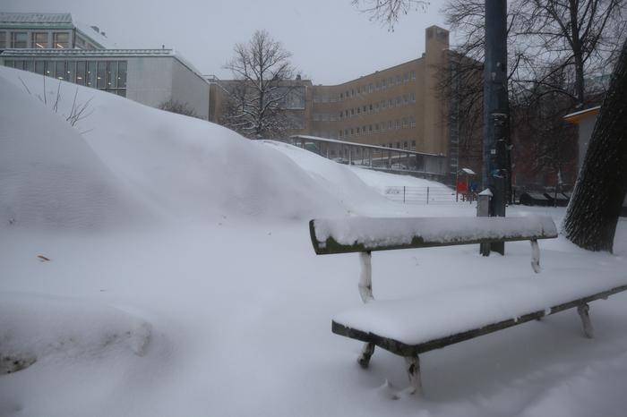Lumi peittää penkit ja kalliot