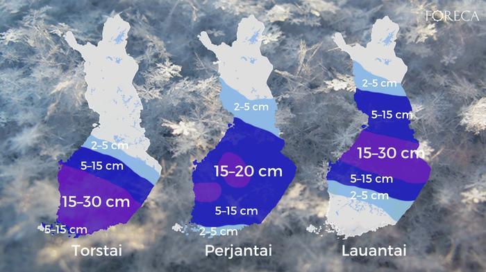 Vuorokausittaiset lumikertymäennusteet torstaista lauantaille 21.–23.1.2021 maanantaina 18.1.2021 tehdyn ennusteen mukaan.