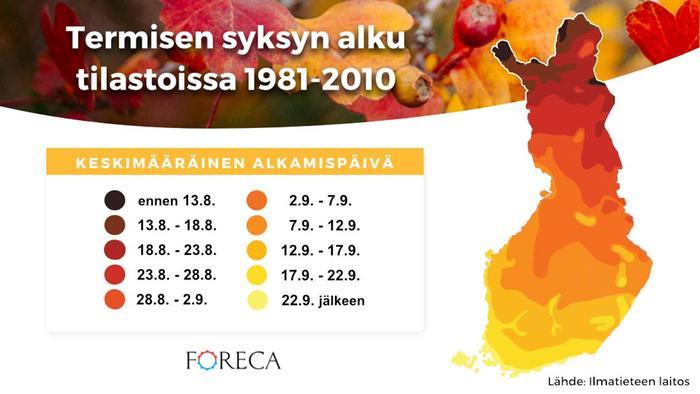 Termisen syksyn alku tilastoissa 1981-2010
