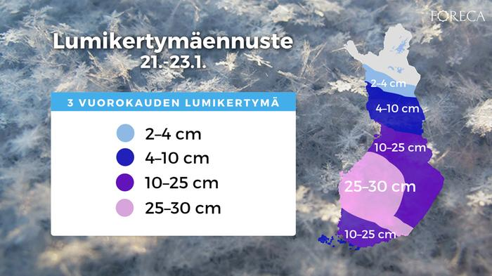 Kolmen vuorokauden lumikertymäennuste torstaista lauantaille 21.–23.1.2021 maanantaina 18.1.2021 tehdyn ennusteen mukaan. Muutokset ennusteeseen ovat yhä mahdollisia.