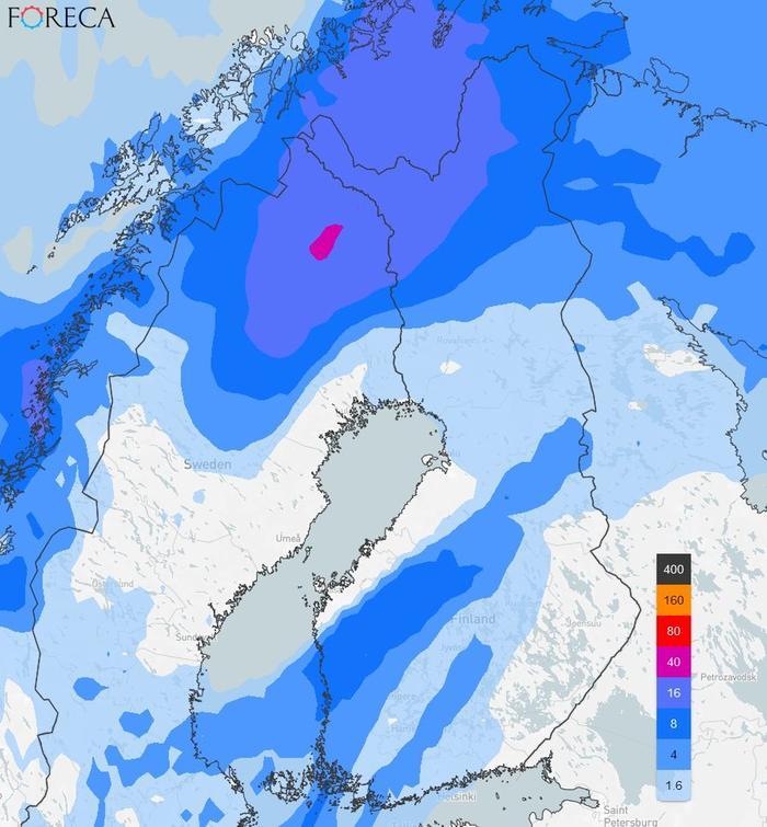 Sademääräennuste maanantaille 11.10.2021.