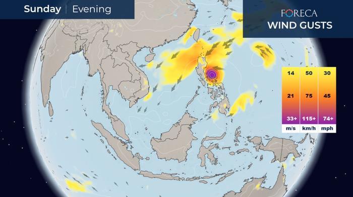 Supertaifuuni Goni etenee kohti Filippiinejä.