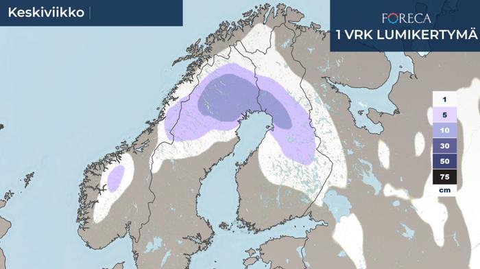 Lumikertymäennuste keskiviikolle 25.11.2020.