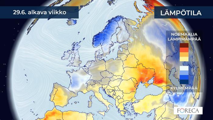 Tämä viikko on Suomessa keskimääräistä viileämpi ja sateisempi.