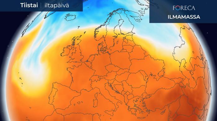 Etelä- ja Keski-Euroopan yllä oleva lämmin ilmamassa leviää ensi viikon alussa kohti pohjoista. Eteläisessä Ruotsissa asti lämpötila voi nousta 20–25 asteeseen. Suomi on viileämmän ilmamassan puolella. Suuressa osassa Suomea lämpötila jää 15 asteen tienoille, Lapissa paikoin alle kymmeneenkin asteeseen.