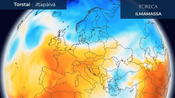 Ilmamassa Euroopassa 1.4.2021.