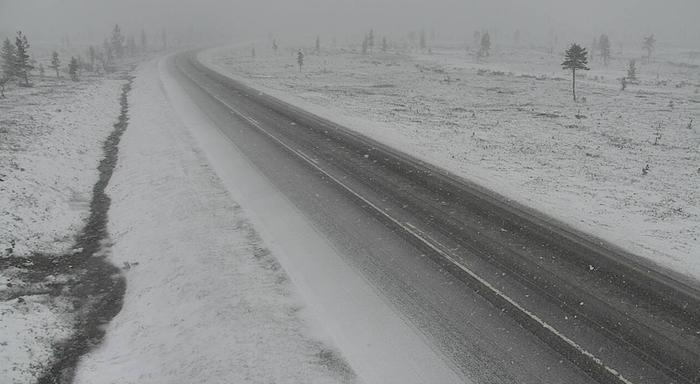 Lumisateita tiellä 4 Inarissa Saariselällä 21. toukokuuta 2021 kello 12.42.