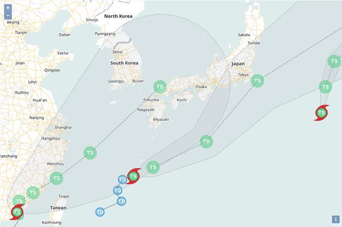 Trooppiset myrskyt Lupit, Mirinae ja Nida ennusteessa 5.8.2021.