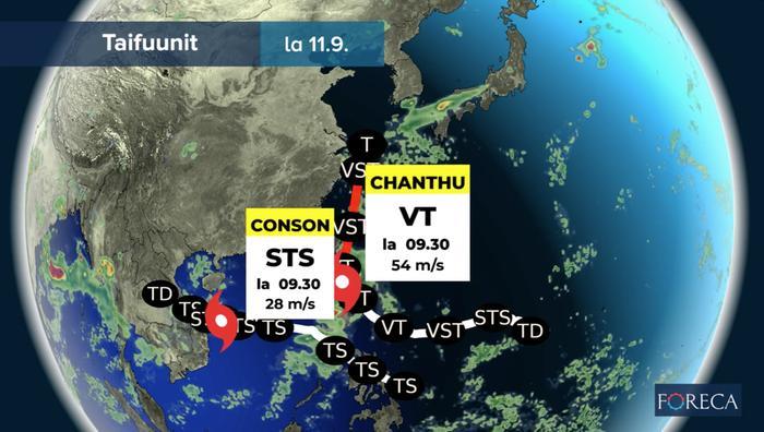 Taifuuni Chanthu eteni kohti Taiwania 10. syyskuuta 2021. Trooppinen myrsky Conson puolestaan suuntasi kohti Vietnamia.