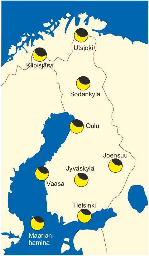 Osittaisen auringonpimennyksen näkyminen Suomessa 10.6.2021.