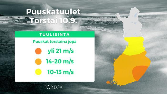 Syysmyräkän pahimpia tuulia ennustetaan maan itäosaan.