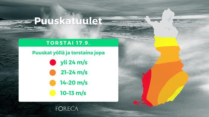 Aila-myrskyn voimakkaimpia maa-alueiden puuskatuulia ennustetaan länteen ja lounaaseen sekä Ahvenanmaalle.