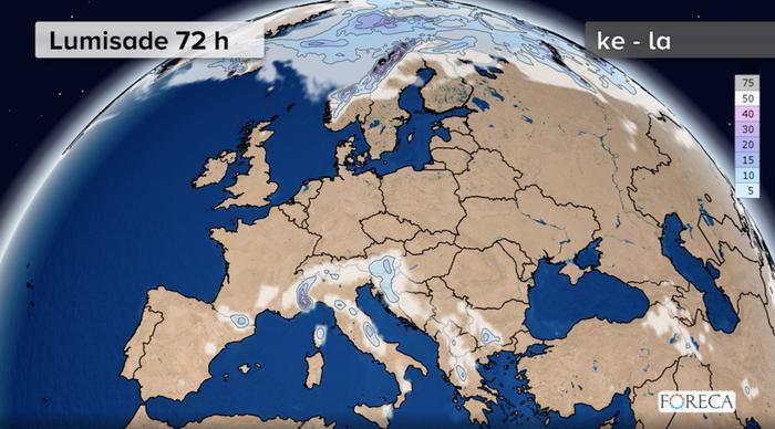 Euroopan lumikertymä keskiviikosta lauantaihin (25.-28.3.2020). Lunta on paikoin tiedossa myös Välimeren vuoristoisille alueille.