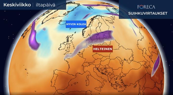 Ensi viikolla Suomen yli kulkee matalapaineita ja sadealueita. Länsipuolellamme on koleaa ilmaa, mutta etelästä pyrkii aika ajoin helteistä ilmaa maahamme.