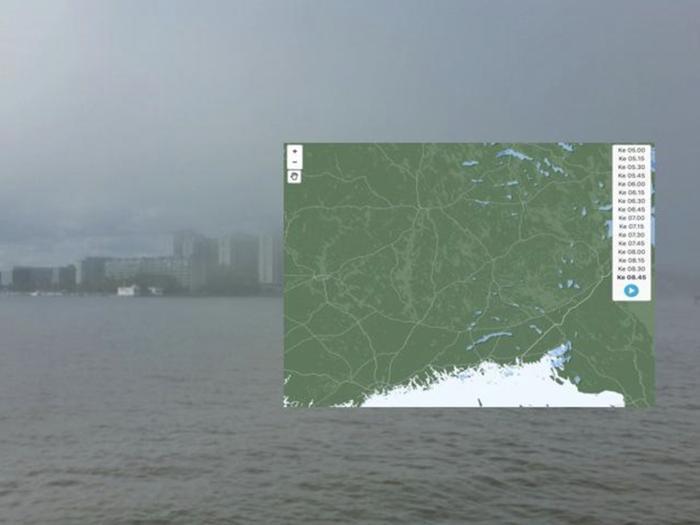 Sadetutka ei välttämättä havaitse hyvin matalasta sumupilvestä satavaa tihkusadetta. Kuva: Foreca