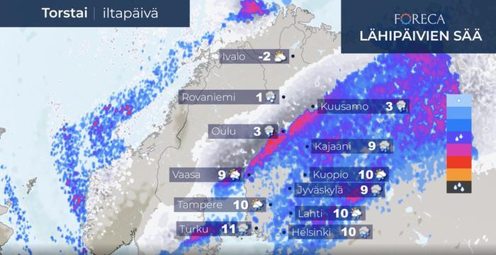 Lumisateet vaikeuttavat tänään ajokeliä maan pohjoisosassa ja illemmalla myös