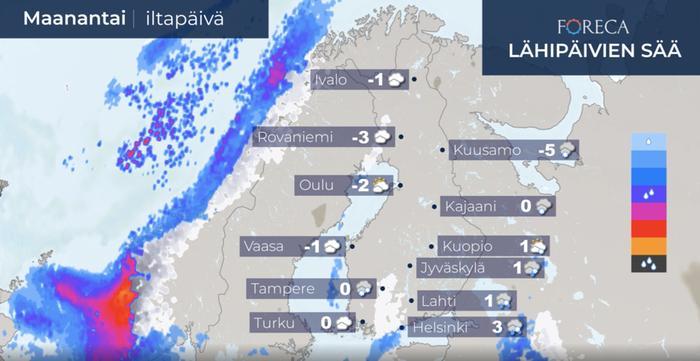 Maanantaina iltapäivällä lunta voi yhä sataa maan eteläosassa, mutta etelärannikolla lämpötila kohonnee selvästi plussan puolelle.