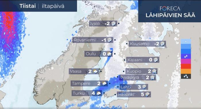 Tiistaina Suomeen työntyy lännestä sateita, jotka alkavat aamulla etelässäkin lumena tai räntänä, mutta muuttuvat vähitellen vedeksi. Maan pohjoisosassa sateet ovat vielä iltapäivällä lunta.