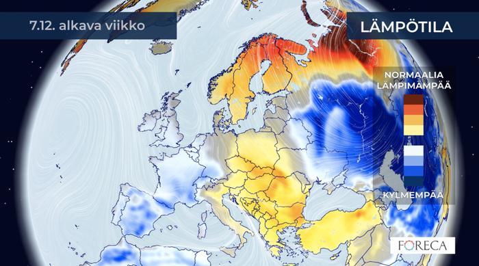 Kuukausiennusteen mukaan selvästi tavanomaista lämpimämpi sää pitää pintansa Suomessa vielä joulukuun toisellakin viikolla.