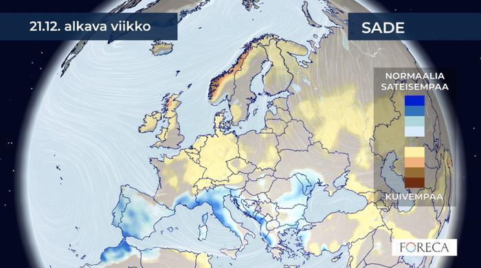 Jouluviikolla poikkeamat sademäärissä haalistuvat koko Euroopan alueella, mutta Välimeren seutu näyttää yhä sateiselta, kun taas pohjoisempana olisi kuivempaa.