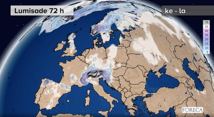Lumikertymä Euroopassa keskiviikon ja lauantain välillä. Lunta on tulossa runsaasti Alpeille, Länsi-Norjaan ja paikoin myös Pohjois-Espanjaan.