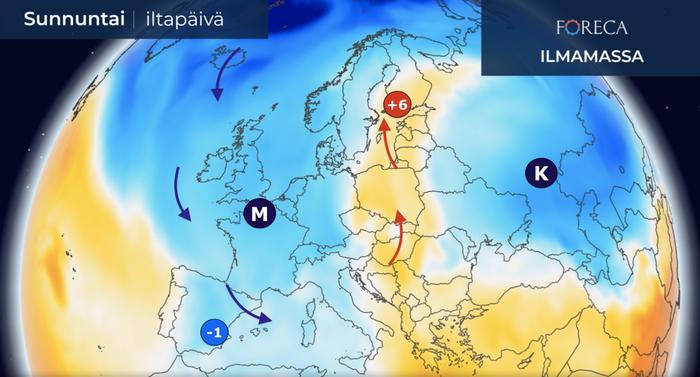 Espanjaan virtaa pian luoteesta vuodenaikaan nähden erittäin kylmää ilmaa ja sateet muuttuvat siellä osittain lumeksi. Lämpötila painuu pakkasen puolelle laajalti ylängöillä. Suomeen virtaa samaan aikaan lämmintä ilmaa etelästä.
