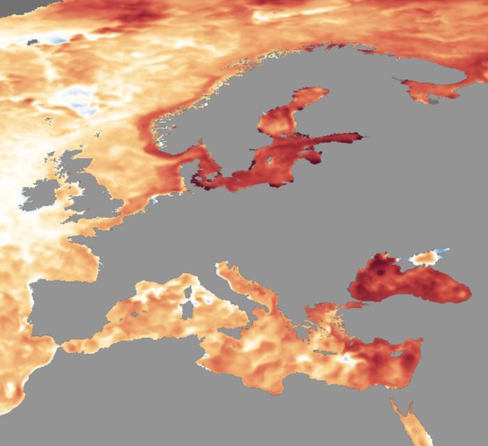 Meriveden lämpötilapoikkeamat marraskuun loppupuolella Euroopassa. Erityisesti Välimeren itäosa, Mustameri ja Itämeri ovat hyvin lämpimiä.