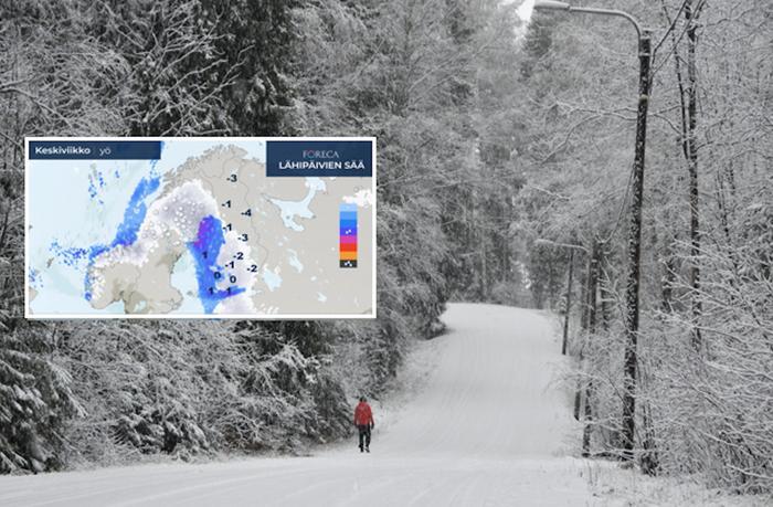 Aatonaattona lumisateita saadaan valtaosassa maata, eikä lumi ehdi sulaa ennen joulunpyhiä.