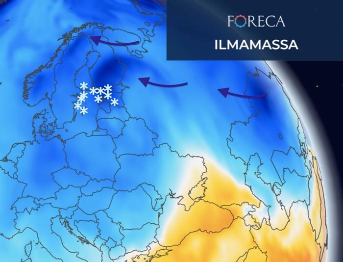 Suomenlahdella ja Itämerellä voi kehittyä ensi viikon kylmän ilman purkauksessa sakeita lumisateita.