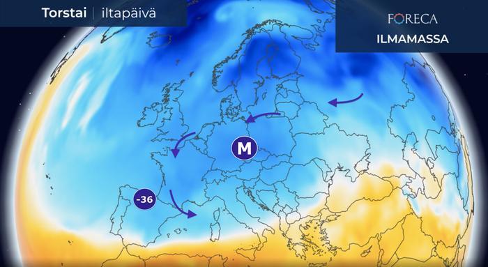 Espanjassa mitattiin torstaiyönä kaikkien aikojen uusi kylmyysennätys, –35,6 astetta.