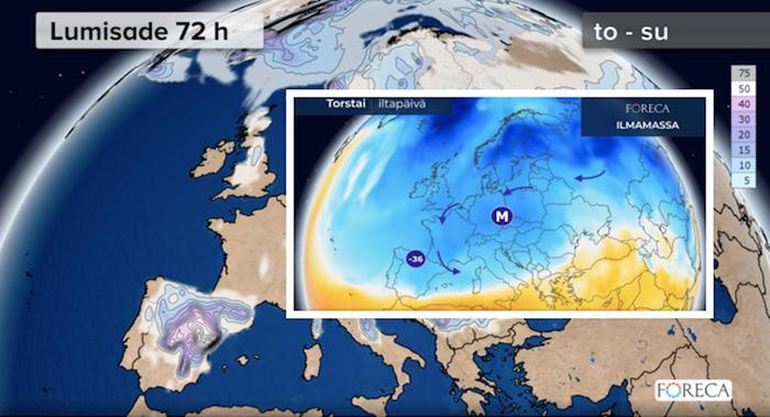 Ankara talvisää kurittaa Espanjaa viikonloppuna.