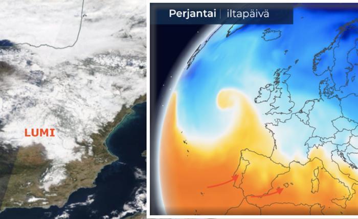 Kuva: Espanjassa oli laaja lumipeite Filomena-myräkän jäljiltä 12.1.2021, mutta tammikuun viimeisinä päivinä koetaan epätavallinen lämpöaalto.