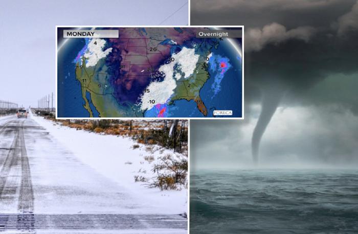 Yhdysvalloissa koetaan alkuviikolla erittäin kylmää säätä. Lumisateita ja pakkasia on odotettavissa Meksikossa saakka Kanariansaaria, Egyptiä ja Dubaita vastaavilla leveysasteilla. Sitä vastoin Floridassa voidaan kokea voimakkaita ukkosmyräköitä ja tornadoja.