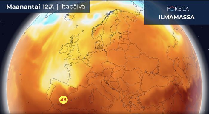 Euroopan kaikkien aikojen lämpöennätys on 48,0 astetta ja se on mitattu 10.7.1977 Kreikan Ateenassa. Lämpötila voi tänään maanantaina Manner-Espanjassa lähelle tätä lukemaa, kun alueen itäosassa kivutaan paikoin yli 45 asteen.
