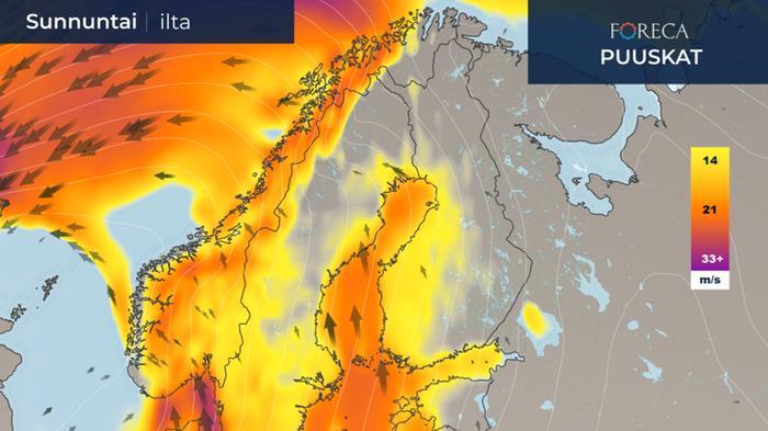 Tuuli voimistuu sunnuntaina maan länsiosassa sekä Perämeren ympäristössä.
